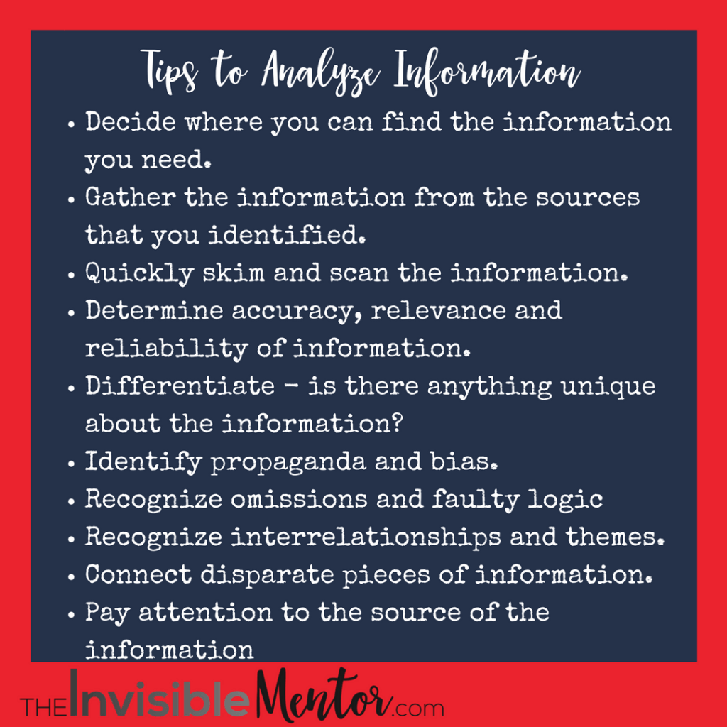 how to analyze information