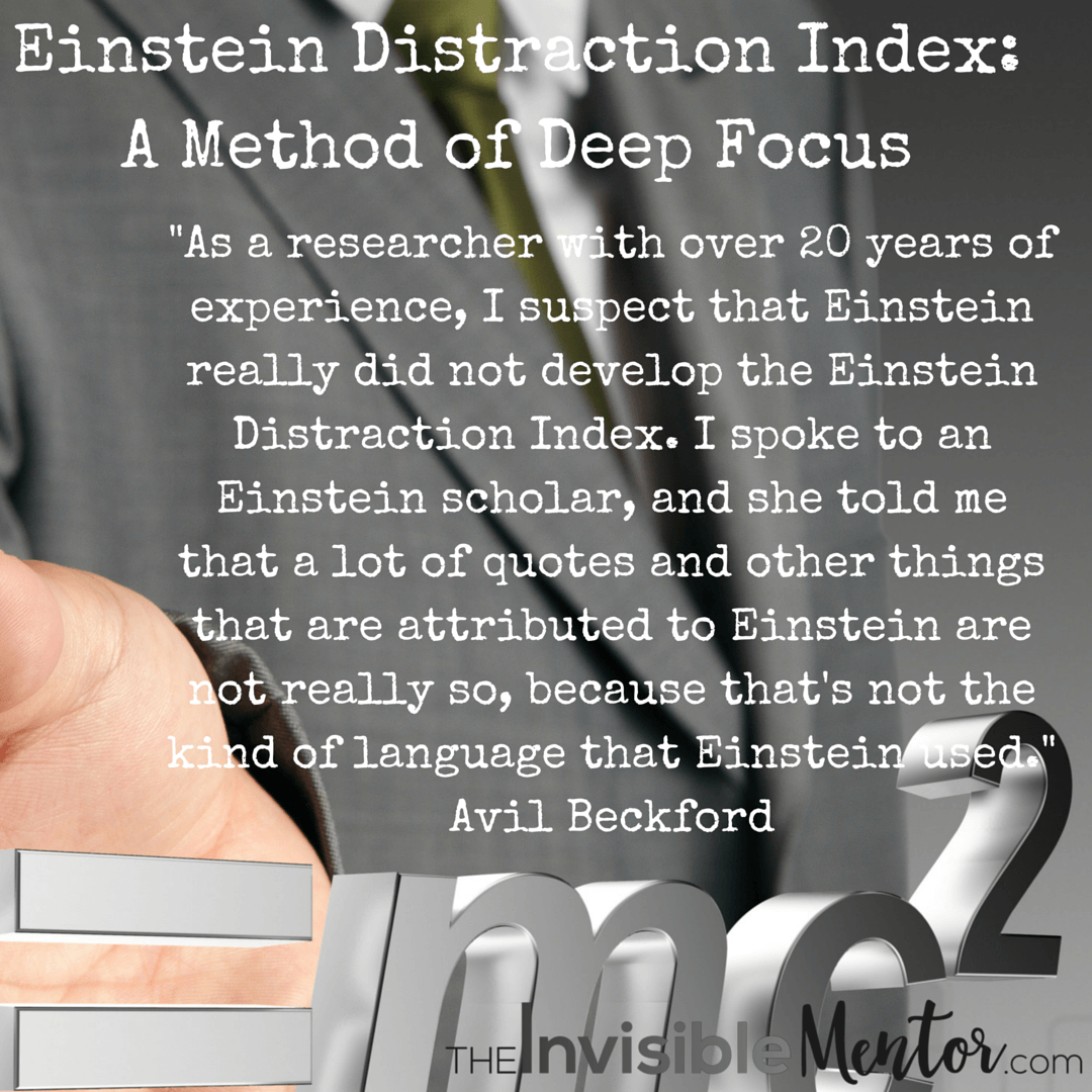 Einstein Distraction Index: A Method of Deep Focus