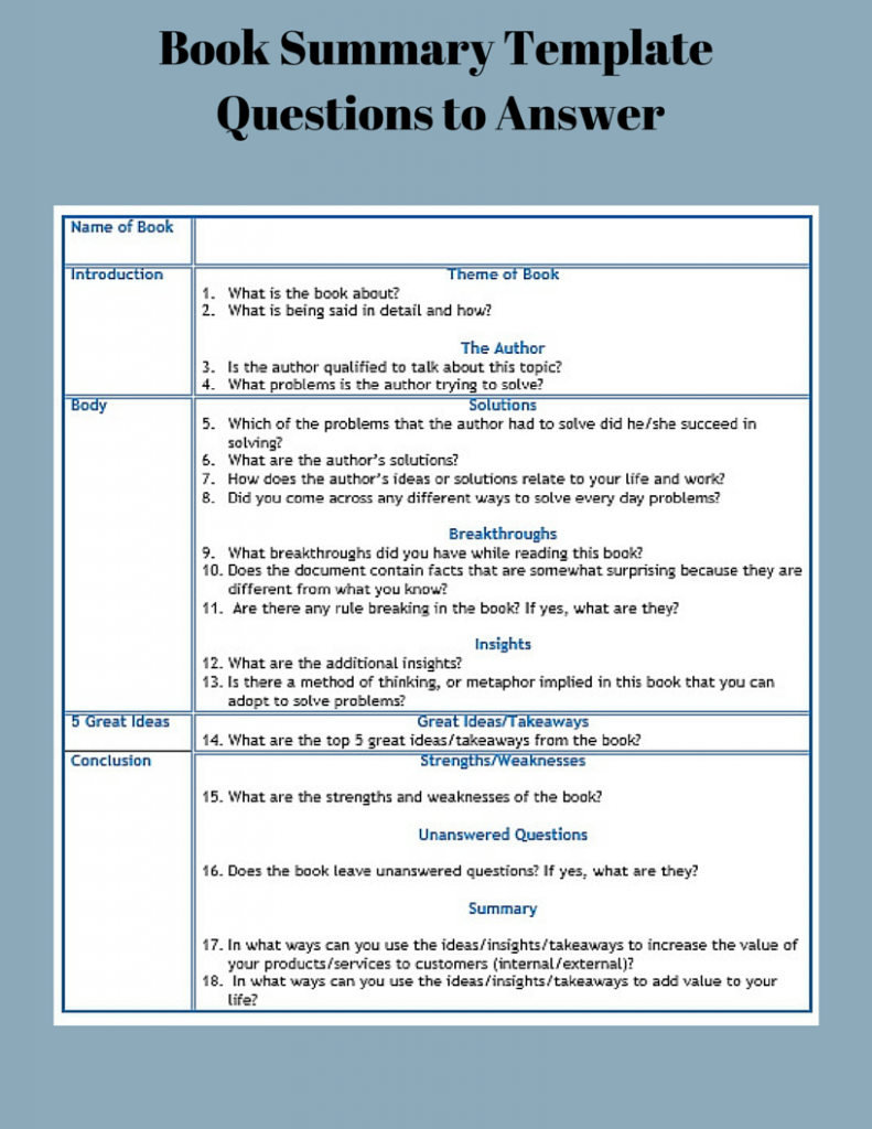 Book Summary Template Questions to Answer, Read Books to Hone Problem Solving Skills