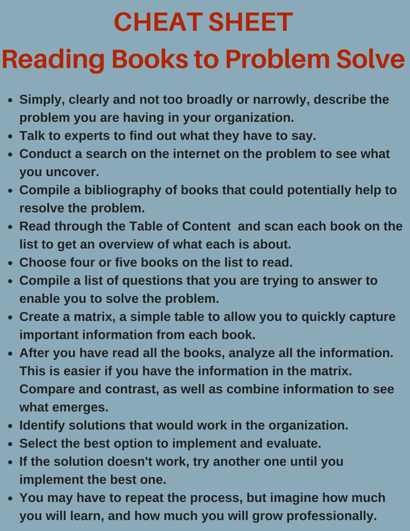 CHEAT SHEET - Reading Books to Problem,Read Books to Hone Problem Solving Skills