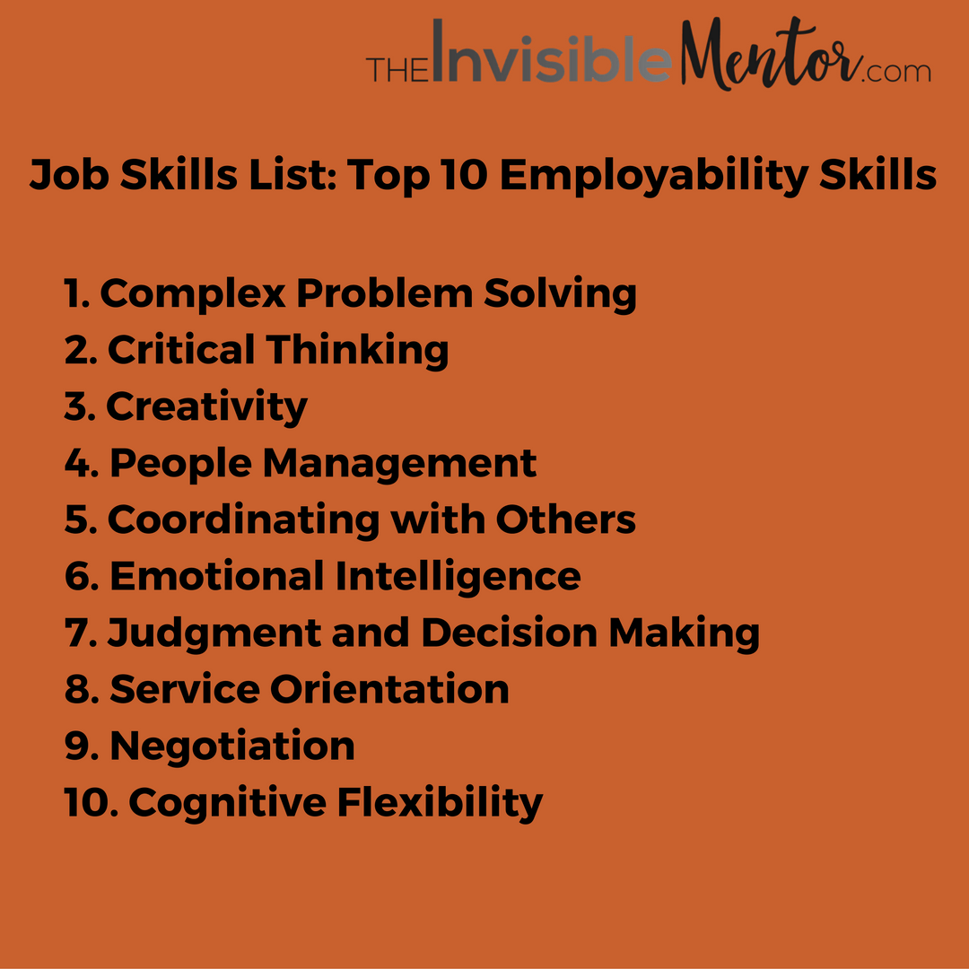 Job Skills List, Top 10 Employability Skills
