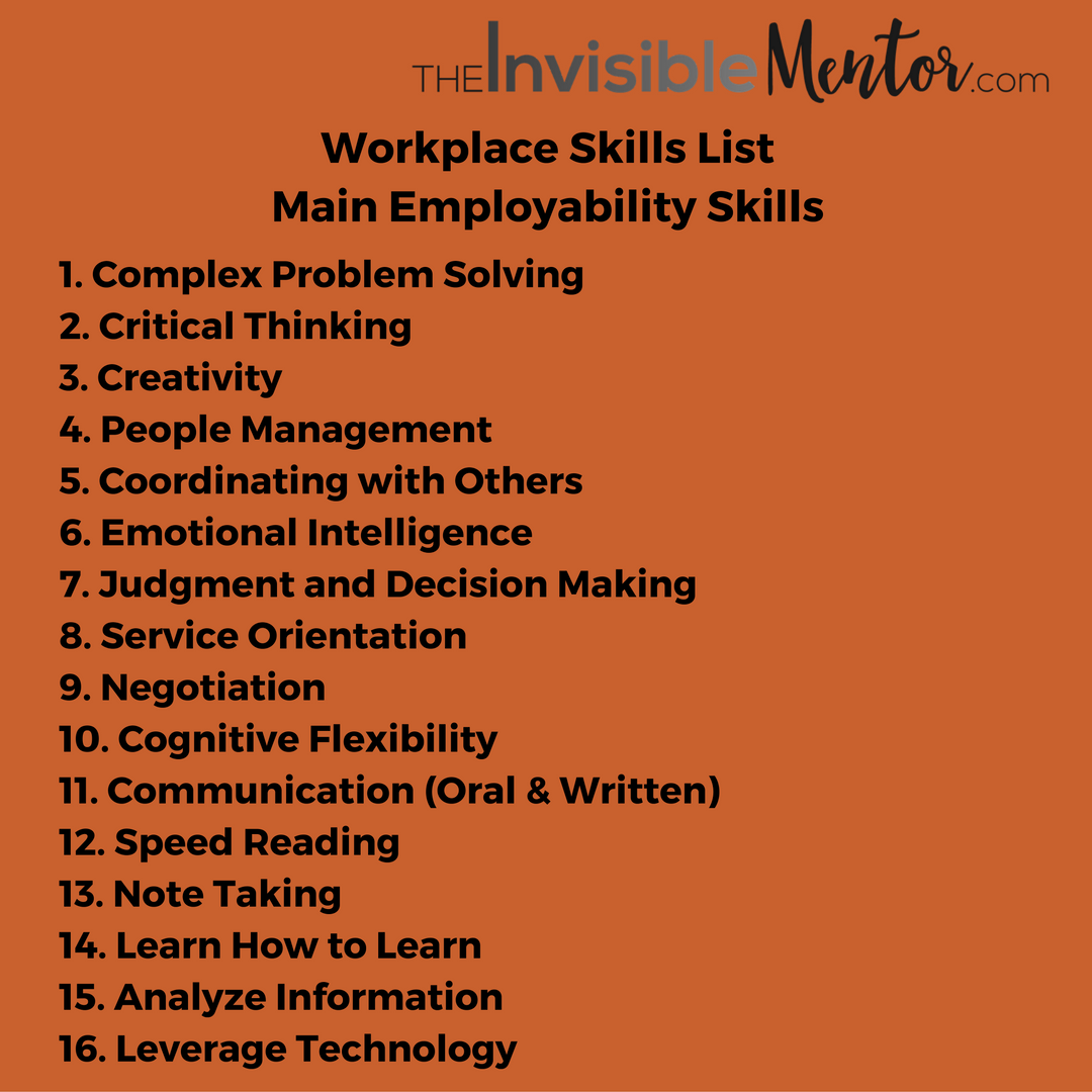 job skills list top 10 skills to thrive in the future workplace skills list main employability skills