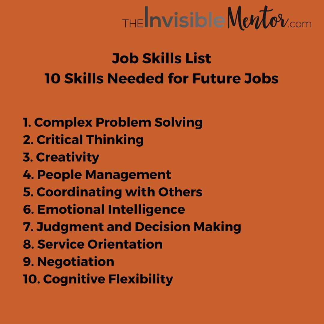skills to list on a job application